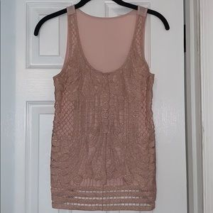 Shimmery tank with lace overlay